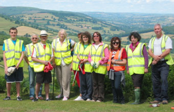Members of the community in Llangynidr take part in a litter pick
